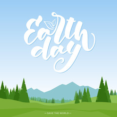 Vector illustration: Cartoon mountains landscape with Handwritten modern brush lettering emblem of Earth Day.