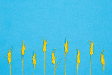 Blue background with yellow paper wheat ears