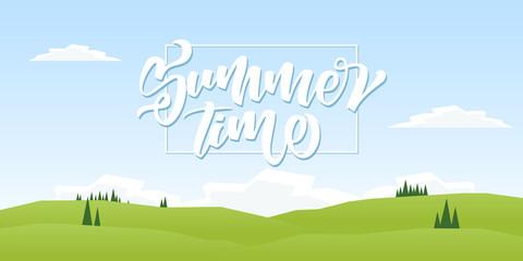Vector illustration: Summer hills landscape with pines.
