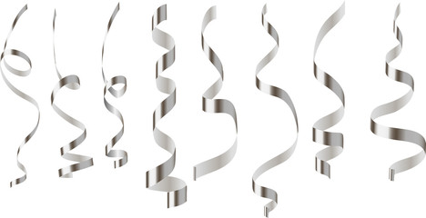 set of silver serpentine different shape on a transparent background