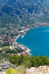 Beautiful landscape of Kotor Bay in summer day ,Montenegro, Adriatic sea. Aerial view.