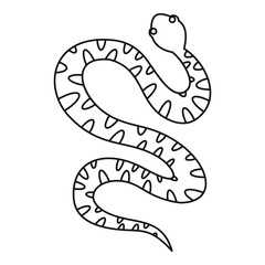 Black writhing snake icon, outline style