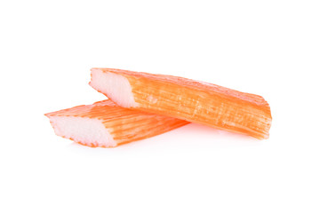 read to eat crab sticks on white background