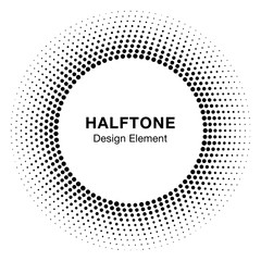 Wall Mural - Black Abstract Halftone Circle Logo Design Element. Vector illustration.