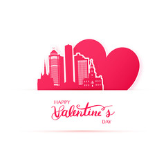Red heart and silhouette of Detroit city paper stickers. Valentine card in paper art style.
