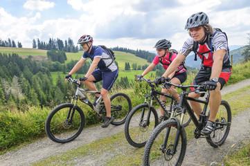 Fototapete - eine Gruppe Mountainbiker im Schwarzwald unterwegs