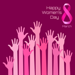 Happy International Womens Day Greeting Card Design. Pink hands background for 8 March Day. Vector illustration.