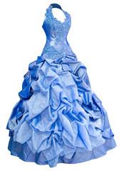 blue satin evening dress, over white