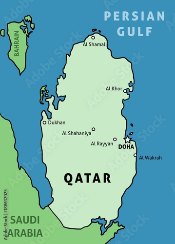 Qatar map vector\