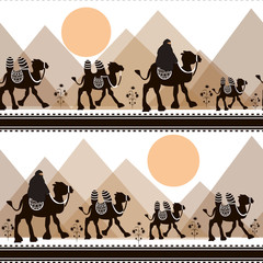 Vector illustration seamless pattern with camel black silhouette. Safari background with camels