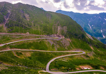 serpentine of Transfagarasan road in mountains. lovely transportation background