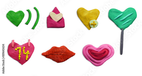 Set Of Clay Plasticine Handmade Valentines Day Icon Valentine Icon