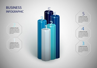 Infographics design vector can be used for workflow layout, diagram, annual report, web design. Business concept with 5 options, steps.