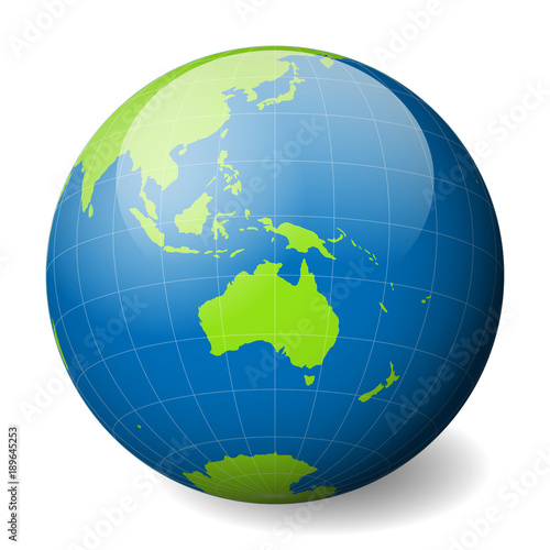 Earth globe with green world map and blue seas and oceans focused on earth globe with green world map and blue seas and oceans focused on australia with gumiabroncs Gallery