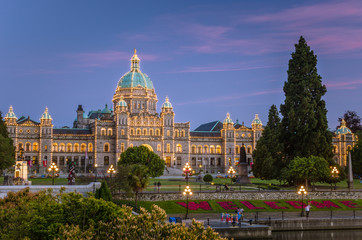 View of Parliament Building in Victoria, Bc, Canada, at Dusk.