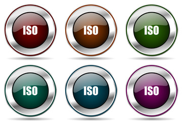 ISO vector icon set. Silver metallic chrome border icons for web design and smartphone applications