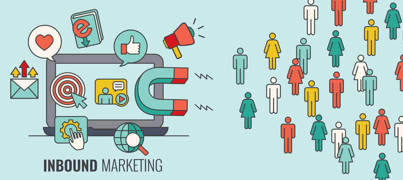 Inbound Header With Magnet Attracting new Leads and Generating Income with the Inbound Marketing