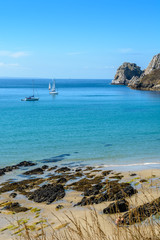 Sailing along the coast of Brittany, France