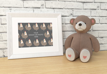 White Photo Frame with Toy Mockup 1