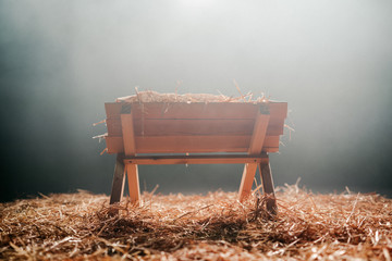 Christmas Manger with Hay Wall mural