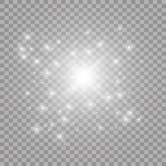 White iridescent light effect star design. Shiny transparent rays vector background. Bright transparent glowing sparkling star