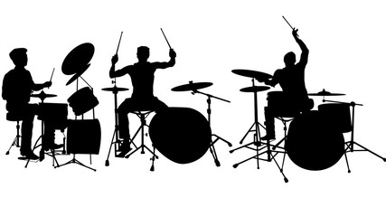 Set of 6 Drummer silhouette