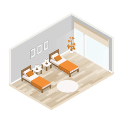 Vector interior bedroom with two beds in isometric. living room with furniture: two beds, two bedside table, lamp, flower pot, picture, window, curtains, pillows. Light hardwood floors and gray walls