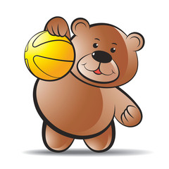 happy bear vector cartoon playing with basketball