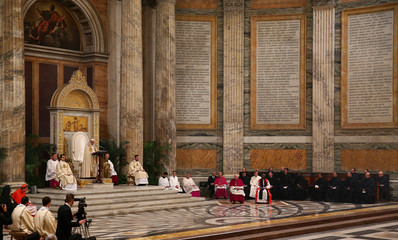 Pope Francis leads the vespers at the Saint Paul Outside the Walls Basilica in Rome