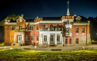 Renovated Luznava manor at Latvia, 2017. Night scape