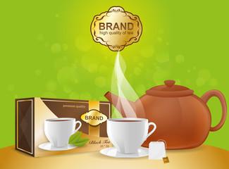 Tea ceremony. Ads vector tea background template