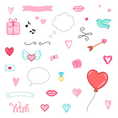 Set of romantic vector elements. Gift, hearts, flower, lips and other. Valentines day characters and illustrations.