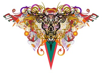 Grunge deer head colorful splashes. Abstract fantastic deer head with color floral elements, arrows, red wings and the triangle directed down