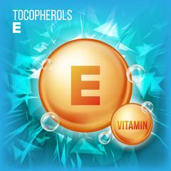 Vitamin E Tocopherols Vector. Vitamin Gold Oil Pill Icon. Organic Vitamin Gold Pill Icon. Medicine Capsule. For Beauty, Cosmetic, Heath Promo Ads Design. Vitamin Complex. Illustration