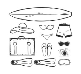 Vector illustration: Hand drawn set of Summer vacation elements. Sketch design