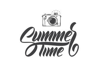 Vector illustration: Brush lettering composition of Summer Time with hand drawn photo camera.