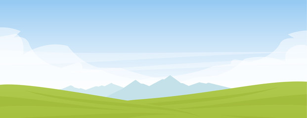 Poster Blue sky Vector illustration: Summer panoramic cartoon flat landscape with mountains, hills and green field.