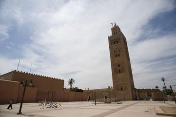 Minareto della moschea di Koutoubia situato al quarto di Medina di Marrakesh, Marocco