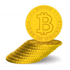 coin bitcoin on white background. Isolated 3D illustration