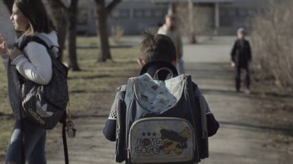 Little boy with a backpack go to school. Back view. Boy with a backpack walking in the Park. Concept of lonely