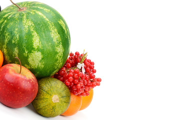Fruits and vegetables isolated on white background.