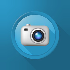 Camera Emoticon on a Button on Color Background . Isolated Vector Illustration