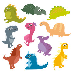 Cute vector cartoon dinosaurs isolated on white background