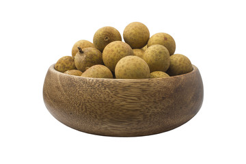 Fresh Longan in a wooden plate. isolated