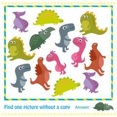 Kids educational game.Vector illustration of kids puzzle with cartoon dinosaur