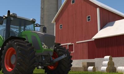 Modern tractor in a farm