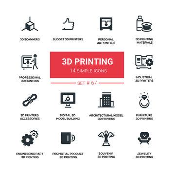 3D printing - line design silhouette icons set