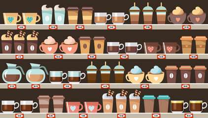 Supermarket, shelves with coffee
