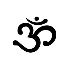Om Aum Ohm india sumbol meditation yoga mantra hinduism buddhism zen black icon vector