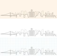 Detroit Hand Drawn Skyline